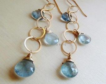 Clearance Aquamarine earrings. Moss Aquamarine Gold Earrings. Cluster earrings. Dangle earrings. Aquamarine. March Birthstone. Ready to ship