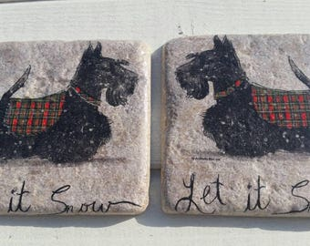 Mr Scottie Dog in his Snow Jacket Coaster Set of 2 Tea Coffee Beer Coasters