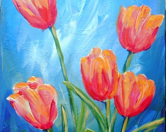 Tulips Painting, Spring Painting, Flower Art, Spring Flowers, Red Orange Tulips, Cornish Tulips, 12 x 16, Wall Art, Floral Painting