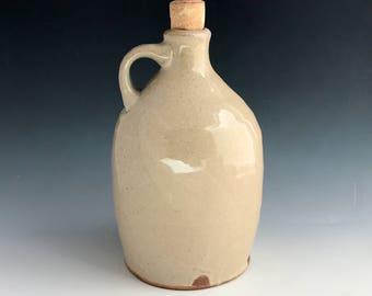 Pottery Jug, Wood Fired Stoneware Bottle, Water, Tequila, Whiskey, Wine, Olive Oil Bottle, Shino Glaze, Wheel Thrown Bottle Decor.