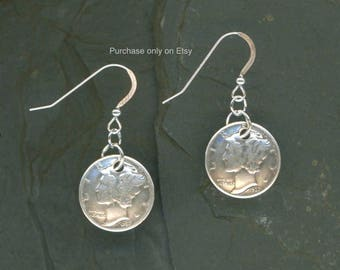 80th Birthday Gift 1938 Dime Earrings 80th Birthday Gift Coin Jewelry 1938 Dimes