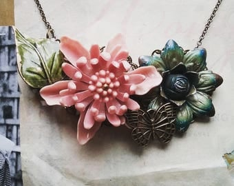Vintage Flower Bib Necklace, Bohemian Jewelry, One Of a Kind Statement Necklace Made from Vintage Floral Brooches
