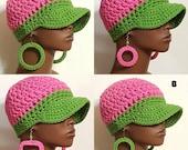 Alpha Kappa Alpha AKA Sorority Chunky Crochet Baseball Cap with Earrings Pink and Green by Razondalee Razonda Lee
