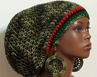 Pan-African Trim Camouflage Large Crochet Tam Cap Hat with Drawstring and Earrings Dreadlocks by Razonda Lee Razondalee