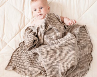 Linen baby blanket, baby towel, baby wrap, linen baby throw