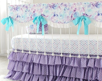 Lavender and Aqua Baby Girl Custom Nursery Set | Watercolor Floral Bumperless Crib Bedding feat. Scallop Teething Rail Cover & Ruffle Skirt