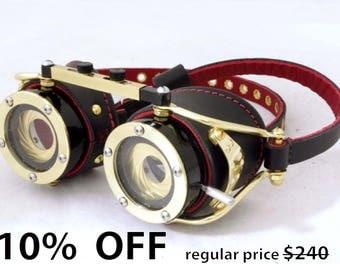 Steampunk goggles Dual IRIS APERTURE Victorian Theatrical Goth Industrial Brass LARP Black