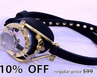 Steampunk Goggles Victorian Theatrical Brass Goth Cosplay Monocle All Black - Exclusively from Steampunkdesign