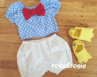 Donald Duck Inspired Everyday Dress Up Polka Dot PlaySet, Two Piece Crop Top and bloomers...Made to Order, size 6m-6