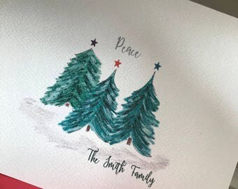 Holiday Card, Personalize Option, Holiday Balsam Trees Cards, Greeting Cards, Blank Inside, Family Greeting Cards, Business Card, Invitation