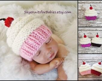 Knit Cupcake Hat, Baby Cupcake Hat, Cupcake Beanie, Baby Girl Hat, Baby Boy Hat, Newborn Hat, Newborn Photography Prop, Newborn Photo Prop