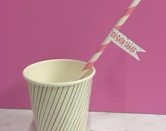 "Set of 12 ""She Said Yaaas"" straws"