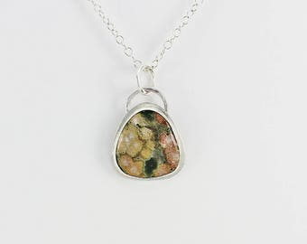 "Ocean Jasper and Sterling Silver Pendant ""Monet's Garden"" Natural Stone Handcrafted Artisan Jewelry Design 5864857812218"