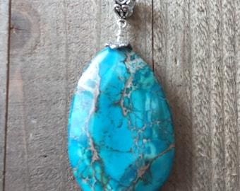 Turquoise gemstone pendant| Sea Sediment Jasper Pendant, Blue stone pendant, teardrop pendant, sea sediment necklace, turquoise pendant