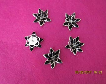 Black and Silver flowers for jewelry making, flowers for sewing