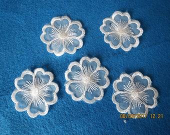 Five flower organza appliques