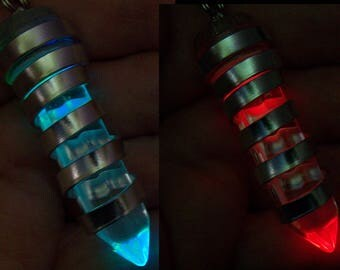 Light Up Color Changing Quartz Crystal Wire Wrapped Pendant