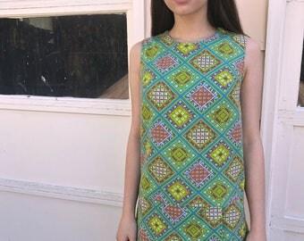Vintage mini DRESS,Size XS/S, retro mini dress, hipster dress,festival  dress, psychedelic dress, folk diamond  dress, shift dress,Zasra