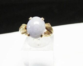 For Sale Vintage Estate 10K Lavender Jade Cabochon Ring