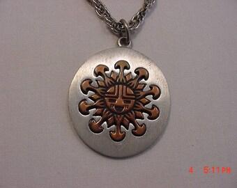 Vintage Copper Gems By Coppercraft Guild Hopi Sun Symbol Necklace  17 - 767