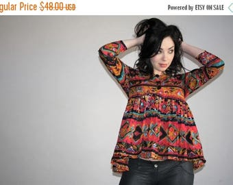 On SALE 45% Off - Vintage 90s Tribal Abstract New Wave Blouse Shirt - 1990s Shirts - W00747