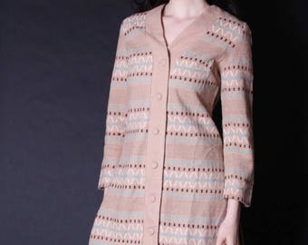 On SALE 35% Off - 1960s Southwestern Jacket - South West Jacket - Woven Jacket - Ikat Sweater -  2727