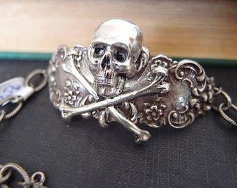Lamya---silver plated brass skull cameo gothic bracelet
