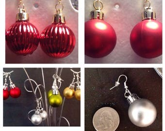 Christmas Balls/Christmas Ornament Earrings -Solid Colors/Disco Ball/Sparkle Glitter - Christmas Jewelry - Holiday Earrings - Christmas