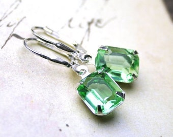 ON SALE Peridot Green Vintage Jeweled Earrings - Faceted Glass Gems in Light Green with Sterling Silver Leverbacks - Last Pair