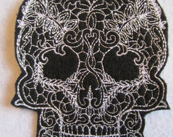 Embroidered Sugar Skull Iron On Patch, Iron On Patch, Sugar Skull, Biker Patch, Sugar Skull Applique, Sugar Skull Patch