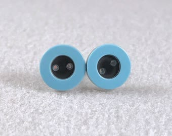 Black and blue button stud earrings