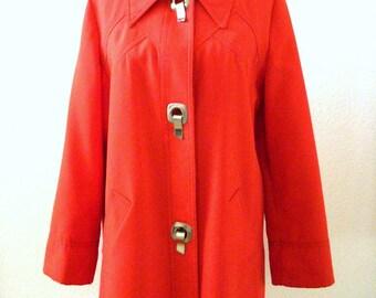 Vintage 70s ORANGE Coat - 1970s Orange Car Coat - Boho Chic Coat with Metal Fasteners by Jerold - Size Small to Medium estimated