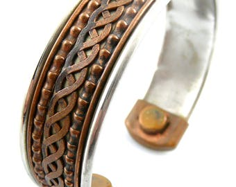 Vintage 1960s 70s Handmade Mixed Metals Copper & Silver Ornate Design Cuff BRACELET