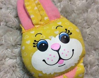20% SALE 1983 Playskool Bunny Wrist Rattle Yellow Bunny Jingle Bell Rattle htf