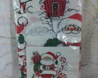 20% SALE Vintage 70s 80s Christmas Paper Table Cloth and Napkins Retro Santa Kitschmas Cute Party Decor