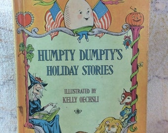 SUMMER SALE 1970s Humpty Dumpty's Holiday Stories Book Kids Picture Story Book Retro Illustrations Ephemera