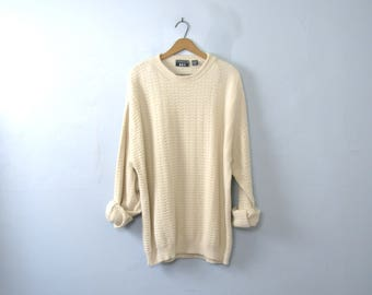 Vintage 90's off white oversized sweater, cream cotton sweater, size XL tall