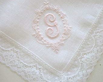 Wedding Handkerchief for the Bride, Bridal handkerchiefs, Monogrammed handkerchiefs, Personalized handkerchiefs, Wedding hankies