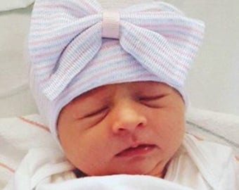newborn hospital hat bow hat girl bow hat