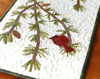 Primitive Folk Art Wool Applique Table Runner Pattern:  HOLIDAY GOSSIP  - Designer - Bits & Pieces by Joan