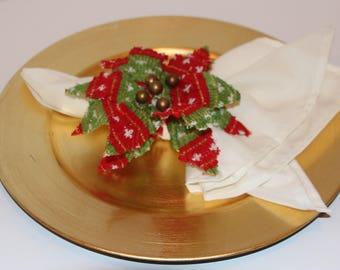 Christmas Poinsettia Napkin Rings Set of 10