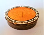 Orange Guilloche Enamel Pillbox... c.1920s Brass