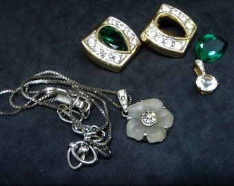 Swarovski Spare Repair Lot... Signed 'Swan' Mark... Earrings Pendant Necklace... Destash Lot
