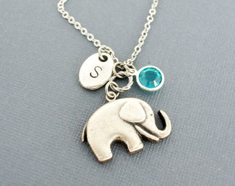 Elephant necklace with birthstone-Personalized initial elephant necklaces for women-Elephant necklace silver-Baby elephant-Good lucky charm