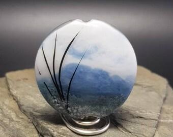 Lampwork Glass Focal Bead - handmade - Purple Snowy Mountains