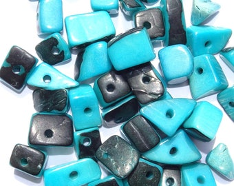 40 Turquoisy Blue Tagua Nut Beads, Chip Beads, Vegetable Ivory Beads, Organic Beads, Natural Beads, EcoBeads, Loose