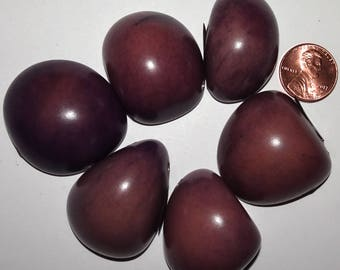 6 Purple Tagua Nut Beads, Top Slices, Organic Beads, Natural Beads, Vegetable Ivory Beads, EcoBeads 16