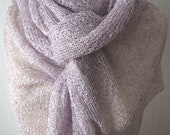 Linen Wrap Light Violet White  Knitted Natural Lace Scarf Shawl Natural Spring Summer Women Accessory