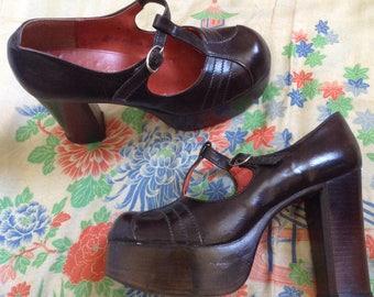 plateforme en cuir brun fabuleux des années 1970 chaussures salomés