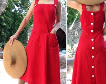 French 1940s RED day dress with white buttons back/  cotton summer dress Sz S